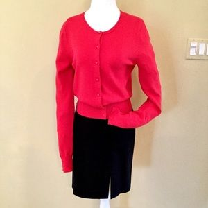 ANN TAYLOR Red Cardigan Sweater